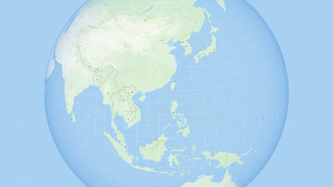 World Zoom to the Far East. States and Capitals. 4k. - stock footage