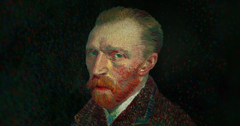 The Iconic Self-Portrait of Vincent Van Gogh in Motion. - stock footage