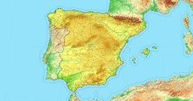 Zoom to Spain Map. Cities, State Borders, Main Roads, Elevation Data.