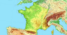 Zoom to France Map. Cities, State Borders, Main Roads, Elevation Data.