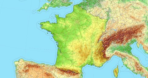 Zoom to France Map. Cities, State Borders, Main Roads, Elevation Data. - stock footage