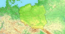 Zoom to Poland Map. Cities, State Borders, Main Roads, Elevation Data.