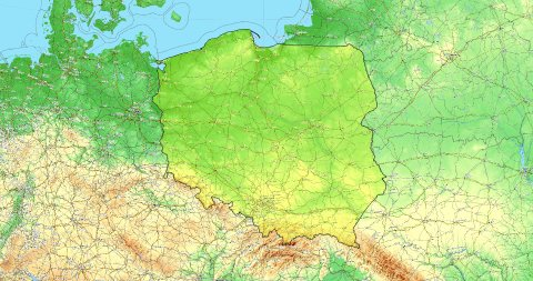 Zoom to Poland Map. Cities, State Borders, Main Roads, Elevation Data. - stock footage