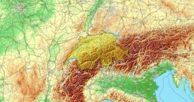Zoom to Switzerland Map. Cities, State Borders, Main Roads, Elevation Data.