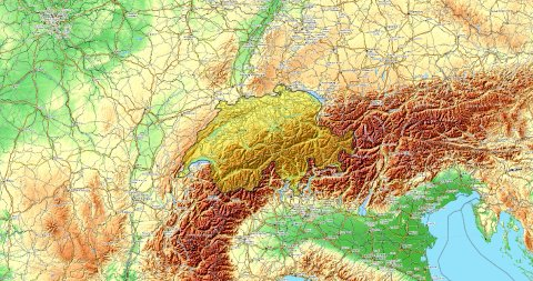 Zoom to Switzerland Map. Cities, State Borders, Main Roads, Elevation Data. - stock footage