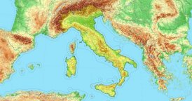 Zoom to Italy Map. Cities, State Borders, Main Roads, Elevation Data.