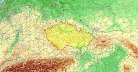 Zoom to Czech Republic Map. Cities, State Borders, Main Roads, Elevation Data.