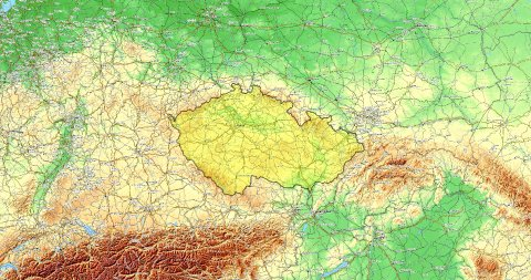 Zoom to Czech Republic Map. Cities, State Borders, Main Roads, Elevation Data. - stock footage