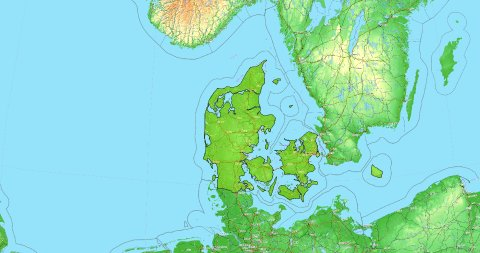 Zoom to Denmark Map. Cities, State Borders, Main Roads, Elevation Data. - stock footage