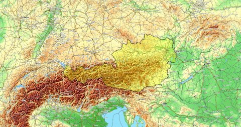 Zoom to Austria Map. Cities, State Borders, Main Roads, Elevation Data. - stock footage