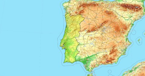 Zoom to Portugal Map. Cities, State Borders, Main Roads, Elevation Data. - stock footage