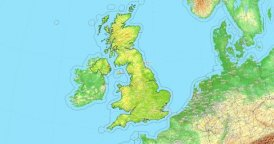 Zoom to United Kingdom Map. Cities, State Borders, Main Roads, Elevation Data.