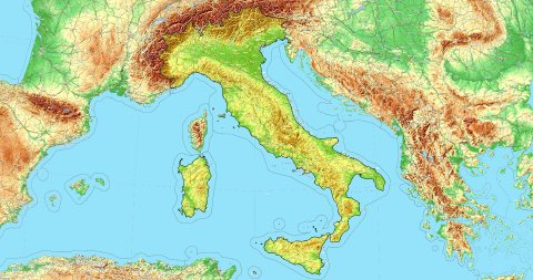 Zoom to Italy Map. Cities, State Borders, Main Roads, Elevation Data. - stock footage