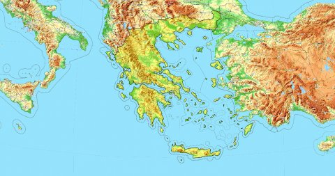 Zoom to Greece Map. Cities, State Borders, Main Roads, Elevation Data. - stock footage
