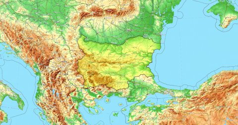 Zoom to Bulgaria Map. Cities, State Borders, Main Roads, Elevation Data. - stock footage