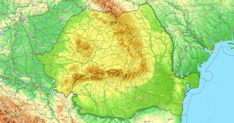 Zoom to Romania Map. Cities, State Borders, Main Roads, Elevation Data. - stock footage