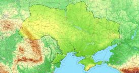 Zoom to Ukraine Map. Cities, State Borders, Main Roads, Elevation Data.