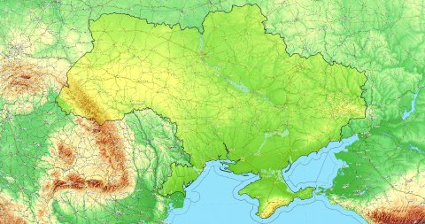 Zoom to Ukraine Map. Cities, State Borders, Main Roads, Elevation Data. - stock footage