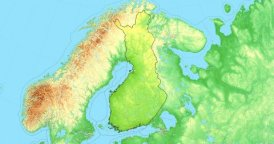 Zoom to Finland Map. Cities, State Borders, Main Roads, Elevation Data.
