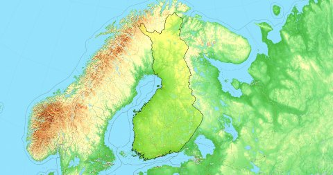 Zoom to Finland Map. Cities, State Borders, Main Roads, Elevation Data. - stock footage