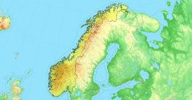 Zoom to Norway Map. Cities, State Borders, Main Roads, Elevation Data.