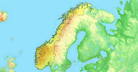 Zoom to Norway Map. Cities, State Borders, Main Roads, Elevation Data. - stock footage