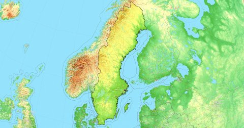 Zoom to Sweden Map. Cities, State Borders, Main Roads, Elevation Data. - stock footage