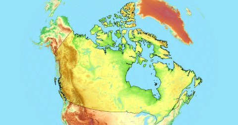 Zoom to Canada Map. Cities, State Borders, Main Roads, Elevation Data. - stock footage