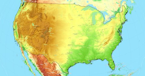 Zoom to USA Map. Cities, State Borders, Main Roads, Elevation Data. - stock footage