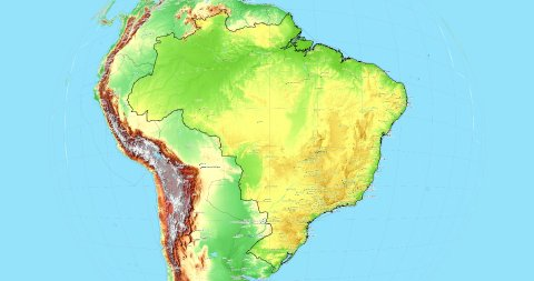 Zoom to Brazil Map. Cities, State Borders, Main Roads, Elevation Data. - stock footage