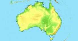 Zoom to Australia Map. Cities, State Borders, Main Roads, Elevation Data.