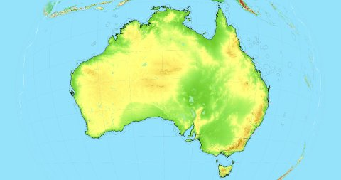 Zoom to Australia Map. Cities, State Borders, Main Roads, Elevation Data. - stock footage