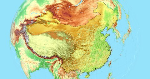 Zoom to China Map. Cities, State Borders, Main Roads, Elevation Data. - stock footage