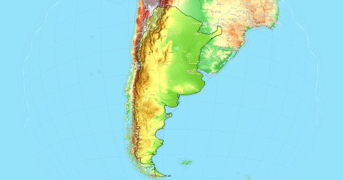 Zoom to Argentina Map. Cities, State Borders, Main Roads, Elevation Data. - stock footage