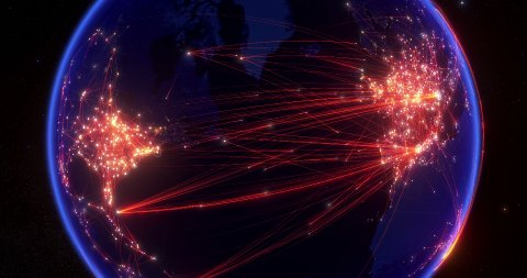 Global communications, network of connections from Europe to America. - stock footage