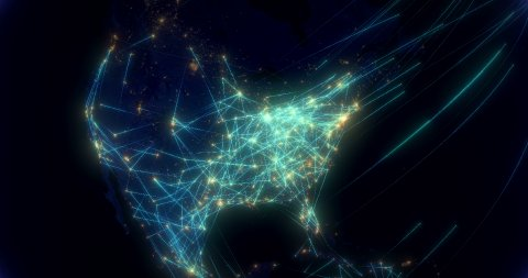 Global communications, network of connections from America to Europe. - stock footage