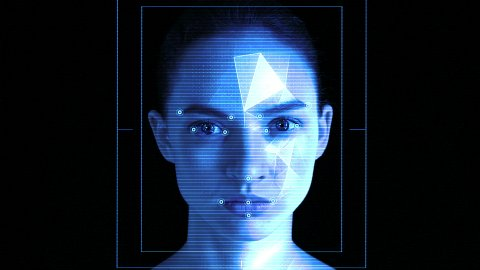 Face ID. Facial Recognition System. Face Detection Dots and Trackers. - stock footage