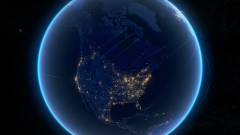 Global communications, network of connections over North America. - stock footage
