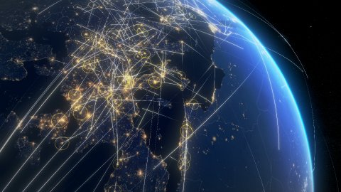Global communications, network of connections over Europe and North America. - stock footage