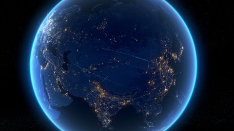 Global communications, network of connections over Asia. Zoom In. - stock footage