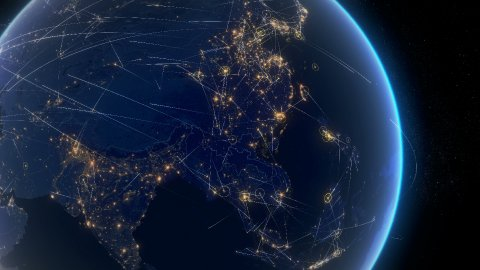 Global communications, network of connections over Asia. Zoom Out. - stock footage