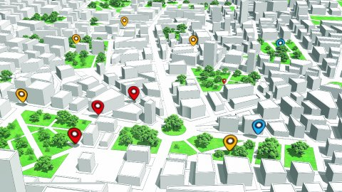 Geotargeting and GPS. Pin Navigation Icons Appear on the Map. Seamless Loop. - stock footage
