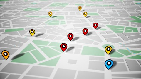 Pin Navigation Localization Icons Appear on the Map. Geotargeting and GPS. LOOP. - stock footage