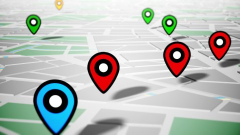 Geotargeting and GPS. Pin Navigation Localization Icons Appear on the Map. LOOP. - stock footage