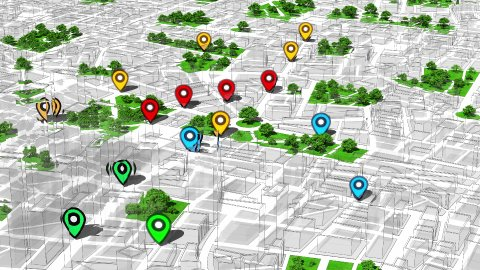 Geotargeting, Map GPS Localization. Pin Navigation Icons Appear on the Map. - stock footage