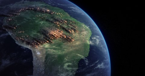 Amazon Rainforest Fire From Space. Satellite View of Fires Burning in the Amazon - stock footage