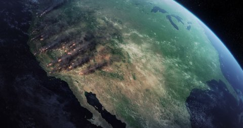 Wildfires in California. Satellite View of Fires Burning in the USA. - stock footage