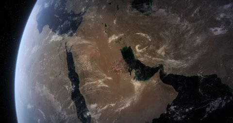 Satellite View of Massive Fires and Smokes in Saudi Arabia. - stock footage