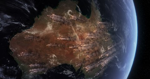 Bushfires in Australia. Satellite View of Massive Fires and Smokes in Australia. - stock footage