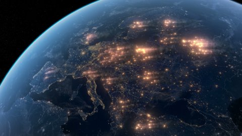 Fires Burning in the Europe. Satellite Night View. - stock footage